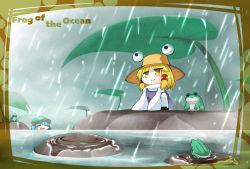 2girls english frog happy highres kashuu_(b-q) kawashiro_nitori moriya_suwako multiple_girls rain smile squatting touhou