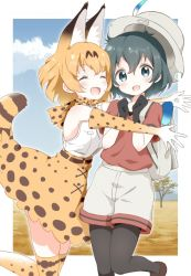 2girls animal_ears backpack bag black_hair blonde_hair blue_eyes blush bow bowtie bucket_hat clenched_hands elbow_gloves eyes_closed glomp gloves hands_up hat highres hug kaban_(kemono_friends) kemono_friends leg_up lucky_beast_(kemono_friends) multiple_girls nekoze_(chatte_secca) open_mouth pantyhose_under_shorts savannah serval_(kemono_friends) serval_ears serval_print serval_tail short_hair tail