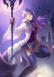 1girl aisha_(elsword) bangs bow building elemental_master_(elsword) elsword gloves head_tilt holding holding_staff holding_weapon hood_down hooded_jacket light long_hair long_sleeves low_twintails miniskirt night night_sky outdoors pink_bow pink_ribbon pleated_skirt purple_eyes purple_hair purple_legwear purple_skirt purple_sky redclow ribbon skirt sky solo staff star_(sky) swept_bangs thighhighs twintails wide_sleeves zettai_ryouiki