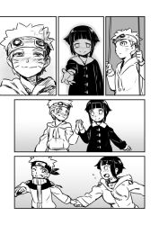 1boy 1girl 774_(nanashi) age_progression alternate_costume blush comic couple forehead_protector goggles goggles_on_head greyscale hand_holding hetero hyuuga_hinata monochrome naruto outstretched_hand running smile swing uzumaki_naruto