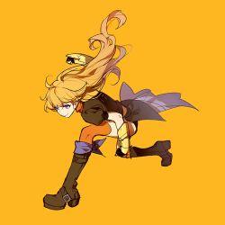 ahoge ask_(askzy) asymmetrical_legwear black_gloves black_shorts blonde_hair boots brown_boots brown_jacket fingerless_gloves gloves high_heel_boots high_heels knee_boots long_hair orange_scarf over-kneehighs puffy_short_sleeves puffy_sleeves purple_eyes rwby scarf short_sleeves shorts thighhighs vambraces waist_cape wavy_hair yang_xiao_long yellow_background