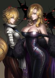 2girls alternate_costume animal_ears areola_slip areolae bare_shoulders blonde_hair breasts brown_legwear cleavage cowboy_shot crack dantewontdie female fox_ears fox_tail fur gap green_eyes grey_background hair_over_one_eye highres large_breasts latex lips long_hair looking_at_viewer multiple_girls panties panties_under_pantyhose pantyhose ribbed_shirt short_hair striped striped_legwear tail taut_clothes taut_shirt tight_pants touhou underwear vertical-striped_legwear vertical_stripes yakumo_ran yakumo_yukari yellow_eyes