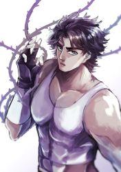 1boy black_hair blue_eyes hermit_purple jojo_no_kimyou_na_bouken jonathan_joestar manmaru93 solo stand_(jojo) thorns vines