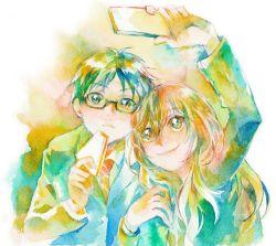 1boy 1girl arima_kousei blazer cellphone glasses miyazono_kawori phone sandwich shigatsu_wa_kimi_no_uso smile taking_picture traditional_media watercolor_(medium) yamashiro_(heisi-chan)