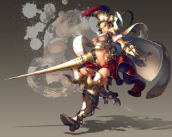 :o armor bikini_armor black_hair braid foocon gauntlets greaves green_eyes helmet navel pauldrons running shield