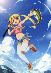 1girl :d bandaid bandaid_on_knee blonde_hair blue_sky brown_eyes cloud crop_top crop_top_overhang denim denim_shorts fang fish fishing fishing_rod full_body highres jamie_(let's_try_bass_fishing) legs lens_flare let's_try_bass_fishing looking_at_viewer midriff navel open_mouth short_shorts shorts sky small_breasts smile spaghetti_strap splashing sun sunlight tank_top thighhighs twintails watanabe_akio white_legwear zettai_ryouiki