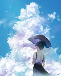 1girl black_hair blue_sky cloud crescent_moon day from_behind highres moon nurie_(siniariot) original outdoors pleated_skirt ponytail school_uniform short_hair short_sleeves signature skirt sky solo suspenders umbrella wind