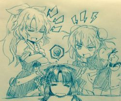 3girls bandaged_arm bangs bow breasts bun_cover chains commentary_request crossed_arms cuffs efukei eyebrows_visible_through_hair eyes_closed flower hair_between_eyes hair_bow hair_tubes hakurei_reimu hand_on_hip ibaraki_kasen index_finger_raised leaning_forward lightning_bolt long_hair looking_at_another medium_breasts monochrome multiple_girls open_mouth ponytail puffy_short_sleeves puffy_sleeves ribbon-trimmed_skirt shackles short_hair short_sleeves sidelocks speech_bubble spoken_squiggle squiggle standing tabard touhou traditional_media watatsuki_no_yorihime