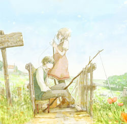 1boy 1girl blue_eyes bridge brown_hair commentary dress fishing fishing_rod flower grass horizon kujyoo light_particles muted_color nature original outdoors path plant puffy_short_sleeves puffy_sleeves road short_hair short_sleeves sign sitting sky tree