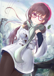 1girl black_legwear blush brown_eyes brown_hair cloud dutch_angle glasses hat highres leaf long_hair looking_at_viewer one_eye_closed original outdoors pantyhose pink_hat power_lines railing red-framed_eyewear scarf solo standing tree winter zongmao