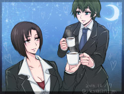 2girls aoyanagi_risa brown_eyes coffee_mug crescent_moon dated earrings green_hair heart highres jewelry kiraki mole mole_under_eye moon multiple_girls necktie psycho-pass shisui_mizue short_hair twitter_username yuri