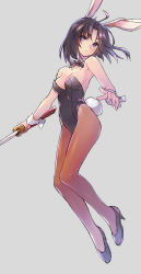 1girl animal_ears bangs bare_shoulders black_hair black_shoes blue_eyes breasts brown_legwear bunny_ears bunny_tail bunnysuit closed_mouth expressionless eyebrows_visible_through_hair grey_background high_heels highres holding holding_sword holding_weapon kara_no_kyoukai katana looking_at_viewer medium_breasts pantyhose parted_bangs ryougi_shiki shoes short_hair simple_background solo sword tail wanko_(takohati8) weapon wrist_cuffs