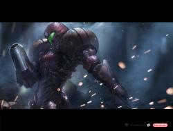 1girl arm_cannon armor deryl_braun epic gradient_background logo metroid nintendo pose power_armor realistic samus_aran solo upper_body varia_suit