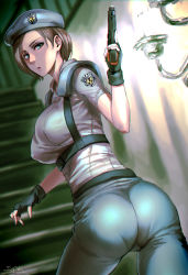 1girl artist_name ass beret blue_eyes breasts brown_hair fingerless_gloves gloves gun handgun hat jill_valentine looking_at_viewer pants pantylines parted_lips pistol resident_evil sgk short_hair signature solo stairs tight tight_pants trigger_discipline weapon