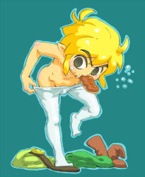 1boy ahoge black_eyes blonde_hair blush boots boots_removed bulge clothes_on_floor eating eclair_(food) food food_in_mouth food_on_face link male_focus pantyhose pantyhose_pull pointy_ears shirtless shota solo sweatdrop the_legend_of_zelda toon_link usikani white_legwear
