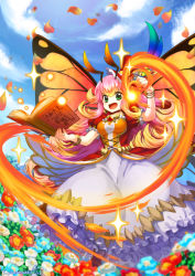 1girl antennae blonde_hair book bracelet brooch butterfly_wings dress fire flower gradient_hair green_eyes hat jewelry long_hair looking_at_viewer mini_top_hat multicolored_hair open_mouth parrot_(p&d) petals pink_hair puzzle_&_dragons quill solo top_hat wavy_hair wings yamanashi_taiki