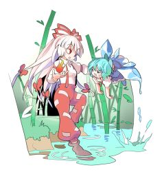 2girls albino bamboo bamboo_forest blue_eyes blue_hair boots bow cirno dress fire forest fujiwara_no_mokou full_body hair_bow hair_ornament hair_ribbon ice ice_wings long_hair long_sleeves looking_at_another melting moyashi_seizoujo multiple_girls nature open_mouth pants puffy_sleeves red_eyes ribbon shirt short_hair short_sleeves smile sweat touhou water white_hair wings
