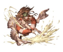 1boy bandanna bracelet brown_hair goggles goggles_on_head granblue_fantasy innertube jewelry long_hair minaba_hideo official_art open_mouth orange_eyes sand sandals scar shirtless solo teeth transparent_background walder