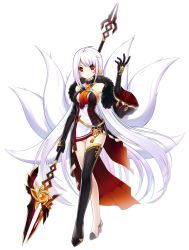 1girl albino ara_han ara_han_(celestial_fox) asymmetrical_clothes bare_shoulders black_gloves black_legwear blush earrings elbow_gloves elsword expressionless feather_boa fox_tail full_body gloves highres jewelry long_hair looking_at_viewer miniskirt multiple_tails official_art polearm red_eyes sando_(artist) shoes simple_background single_thighhigh skirt solo spear standing tail thighhighs very_long_hair weapon white_hair yama_raja_(elsword)