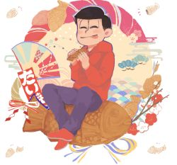 1boy blush branch cherry_blossoms denim eating eyes_closed fan food hoodie jeans male_focus nomiko_524 osomatsu-kun osomatsu-san osomatsu_(osomatsu-kun) pants ribbon rope seigaiha shimenawa sitting smile taiyaki tongue tongue_out wagashi