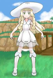 1girl blonde_hair blush braid bridge cloud dress full_body grass green_eyes hat kneehighs legs_apart lillie_(pokemon) long_hair looking_at_viewer outdoors panties panty_pull pointing pokemon pokemon_(game) pokemon_sm shoes sky sleeveless sleeveless_dress smile socks solo squid_neetommy standing sun_hat tree twin_braids white_dress white_hat white_panties white_shoes white_socks