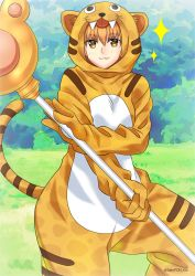 1girl animal_costume animal_print artist_name blush fate/grand_order fate_(series) fujimura_taiga gloves highres hood jaguarman_(fate/grand_order) orange_eyes orange_hair sato-pon sparkle staff tiger_costume tiger_print