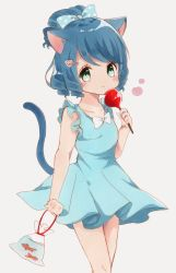 1girl :3 animal_ears artist_request blue_dress blue_hair blush bow candy_apple cat_ears cat_girl cat_tail cyan_(show_by_rock!!) dress fish food goldfish green_eyes hair_bow hair_ornament hairclip highres short_ponytail show_by_rock!! simple_background solo tail traditional_media