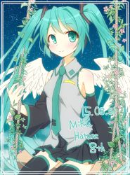 1girl 2015 blush character_name dated detached_sleeves flower green_eyes green_hair hatsune_miku headset long_hair nail_polish necktie sitting skirt smile solo suzushirokei swing szsr thighhighs twintails very_long_hair vocaloid wings