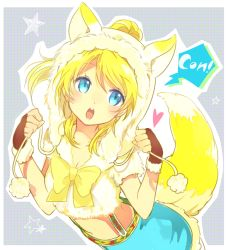 1girl alternate_costume animal_ears animal_hat arched_back ayase_eli blonde_hair blue_eyes bowtie clenched_hands fox_ears fox_hat fox_tail fur_trim hat heart kakizato long_hair love_live!_school_idol_project midriff onomatopoeia open_mouth outline pom_pom_(clothes) ponytail romaji short_sleeves solo speech_bubble standing star suspender_skirt suspenders tail yellow_bow