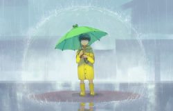 1boy bangs black_eyes black_hair blunt_bangs boots bowl_cut child closed_mouth esper frog hiko_(scape) holding holding_umbrella hood hood_down house kageyama_shigeo legs_apart long_sleeves looking_to_the_side looking_up male_focus mob_psycho_100 outdoors rain raincoat reflection rubber_boots solo umbrella yellow_boots younger