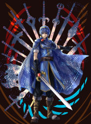 1boy armor blue_hair cape fire_emblem fire_emblem:_ankoku_ryuu_to_hikari_no_tsurugi fire_emblem:_monshou_no_nazo fire_emblem:_shin_ankoku_ryuu_to_hikari_no_tsurugi fire_emblem:_shin_monshou_no_nazo highres holding holding_sword holding_weapon looking_at_viewer marth smile solo sword techitoni weapon