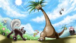 alolan_exeggutor bewear bush cloud cloudy_sky comfey cutiefly exeggutor fighting flying from_below highres mimikyu_(pokemon) mountain no_humans pikipek pokemon pokemon_(creature) pokemon_(game) pokemon_sm rockruff shadow sky smile sun sunlight