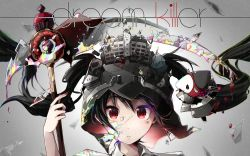 1girl black_hair blood closed_mouth collared_shirt demon_wings desk english frown glass_shards hatsune_miku helmet highres holding horns long_hair looking_at_viewer nou pillow pillow_hug portrait red_eyes school school_desk scythe shirt twintails vocaloid white_shirt wing_collar wings