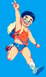 1boy :d arm_up backpack bag bandaid bandaid_on_knee blue_background blue_hair blush briefs glasses male_focus no_pants open_mouth original shoes simple_background smile sneakers solo tanaka_(tanakasunsun) tank_top underwear v watch wristwatch