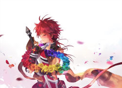 1boy blush elsword elsword_(character) eyes_closed fingerless_gloves flower gloves green_rose male messy_hair petals pink_rose purple_rose rainbow_order red_hair red_rose rose scarf scorpion5050 solo sword tears weapon white_background wreath yellow_rose