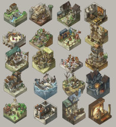 banner bare_tree bear board_game book bridge bucket candle chess chest cross crown fence highres horse ladder lance lantern lion mace polearm shield ship spikes stairs sword tent tile_floor tiles treasure_chest tree turban water weapon yamaada