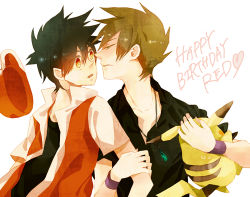2boys baseball_cap black_hair brown_hair gloves green_eyes happy_birthday hat hat_removed headwear_removed jewelry lowres male_focus multiple_boys nintendo ookido_green pendant pikachu pokemon pokemon_(game) pokemon_gsc pokemon_hgss red_(pokemon) red_eyes short_hair surprised yaoi