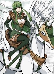 1girl armor artist_name belt breastplate elbow_gloves eyebrows_visible_through_hair feathered_wings feathers fingerless_gloves fire_emblem fire_emblem:_ankoku_ryuu_to_hikari_no_tsurugi fire_emblem:_monshou_no_nazo fire_emblem:_shin_ankoku_ryuu_to_hikari_no_tsurugi fire_emblem:_shin_monshou_no_nazo fire_emblem_echoes:_mou_hitori_no_eiyuuou fire_emblem_gaiden gloves green_eyes green_gloves green_hair green_legwear headband highres long_hair looking_at_viewer paola pegasus pegasus_knight riding saddle signature smile thighhighs wings zettai_ryouiki