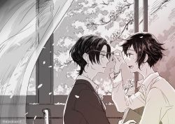 2boys alternate_hair_length alternate_hairstyle bespectacled book cherry_blossoms collared_shirt curtains earrings glasses glasses_removed greyscale jewelry kashuu_kiyomitsu male_focus mole mole_under_eye monochrome multiple_boys nizakiaro open_mouth petals profile shirt short_hair touken_ranbu wind window yamato-no-kami_yasusada