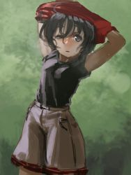 1girl armpits arms_behind_head black_eyes black_hair black_shirt cowboy_shot hair_between_eyes half-closed_eye hettsuaa highres hot kaban kemono_friends leaf looking_up open_mouth outdoors pocket shadow shirt short_hair short_sleeves shorts sketch solo sweat undressing