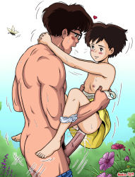 1boy 1girl barefoot black_hair blush butterfly eye_contact father_and_daughter feet flat_chest flower glasses gradient_background heart huge_penis incest kusakabe_satsuki kusakabe_tatsuo loli madoc outdoors panties_around_leg short_hair simple_background studio_ghibli toes tonari_no_totoro