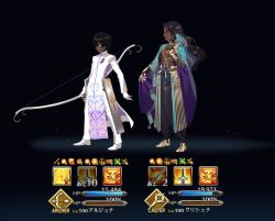 2boys arjuna_(fate/grand_order) baggy_pants black_background black_gloves black_hair blue_eyes bow_(weapon) comparison dark_skin dark_skinned_male fate/grand_order fate_(series) flute full_body gameplay_mechanics gloves hindu_mythology instrument jewelry krishna long_coat long_hair male_focus multicolored_hair multiple_boys official_style original pants pelvic_curtain quiver rei_(sanbonzakura) shirtless short_hair simple_background smile standing transparent_background weapon white_coat white_gloves