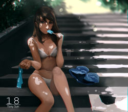1girl artist_name blurry bra brown_eyes brown_hair chromatic_aberration dappled_sunlight depth_of_field fingernails highres holding_clothes holding_shirt looking_at_viewer nail_polish original outdoors panties popsicle red_nails sexually_suggestive shirt_removed shorts_removed sitting sitting_on_stairs solo stairs sunlight text tony_sun tree_shade underwear watermark white_bra white_panties