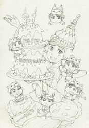 6+boys :d animal_hat birthday_cake cake candle chibi christophe_giacometti crossed_arms facial_hair food freckles graphite_(medium) hamster_hat happy_birthday hat highres ice_skates itou_noriko ji_guang-hong katsuki_yuuri lee_seung-gil leo_de_la_iglesia male_focus miniboy monochrome multiple_boys open_mouth otabek_altin phichit_chulanont plate romaji skates smile thai_clothes traditional_media yuri!!!_on_ice