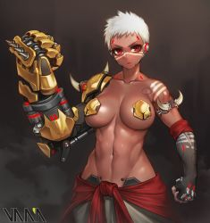 1girl abs armlet artist_name baggy_pants bare_shoulders bodypaint breasts brown_lipstick clenched_hands collarbone cyborg dark_skin doomfist_(overwatch) elbow_gloves eyelashes facepaint facial_mark fingerless_gloves genderswap genderswap_(mtf) gloves groin highres large_breasts lips lipstick looking_at_viewer makeup midriff navel overwatch pants pasties power_fist red_eyes robot_ears short_hair spikes standing stomach thighs toned upper_body vana very_dark_skin white_hair white_pants