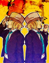 2boys adjusting_clothes adjusting_hat arm_up back-to-back beard blonde_hair blue_eyes blue_necktie boater_hat bracelet danganronpa danganronpa_3 dual_persona facial_hair formal hat hisida jewelry kizakura_kouichi looking_at_viewer male_focus multiple_boys mustache necktie simple_background smile suit upper_body yellow_background