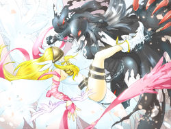 2girls angel angel_and_devil angel_wings angewomon ass bare_shoulders belt blonde_hair boots breast_press breastplate breasts catsuit chains claws cleavage curvy demon_girl digimon digimon_adventure elbow_gloves female gloves helmet high_heels kneeling ladydevimon large_breasts leather_suit light_and_dark lips long_hair mask multiple_girls multiple_wings navel_cutout pale_skin red_eyes ribbon seal shoes silver_hair single_elbow_glove single_glove skin_tight skull torn_clothes tower very_long_hair visor white_hair wings