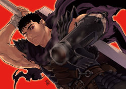 1boy armor backlighting bandage belt belt_pouch berserk black_hair cape dragonslayer_(sword) frown guts hand_on_hilt huge_weapon looking_at_viewer male multiple_belts muscle prosthesis prosthetic_arm prosthetic_weapon red_background scar short_hair solo spaulders sword torn_clothes weapon wink zonzgong