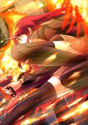 1girl bassa black_legwear fire from_behind highres katana long_hair red_eyes red_hair shakugan_no_shana shana skirt solo speed_lines sword thighhighs weapon