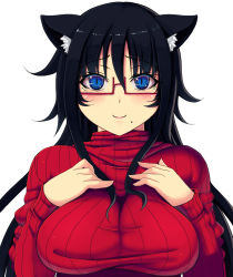 1girl :3 animal_ears black_hair blue_eyes blush breast_squeeze breasts cat_ears female glasses kisaragi_yakumo large_breasts long_hair long_sleeves looking_at_viewer mole original red-framed_glasses semi-rimless_glasses simple_background slit_pupils smile solo sweater turtleneck under-rim_glasses
